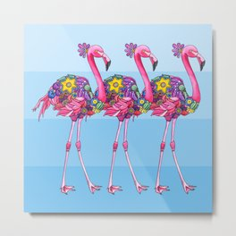 A Small Flock of Flamingos Metal Print