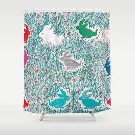 painting for kids-the hares Shower Curtain