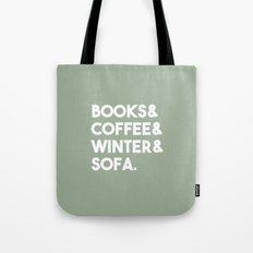 Books, coffee, winter, sofa Tote Bag