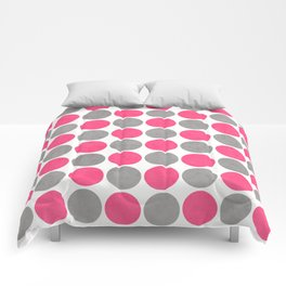hot pink and gray dots Comforters