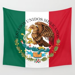 Mexican flag (augmented scale) with Coat of Arms (overlaid) Wall Tapestry