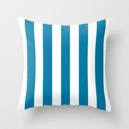 CG blue - solid color - white vertical lines pattern Throw Pillow