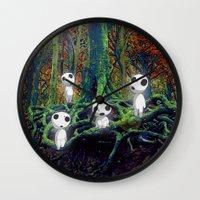 kodama Wall Clocks featuring Kodama under the tree by pkarnold + The Cult Print Shop