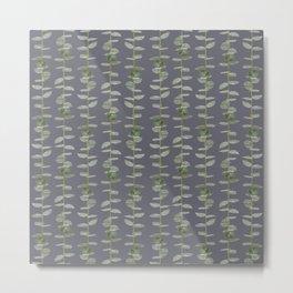 Eucalyptus Patterns Dusty Purple Background Realistic Botanic Patterns Organic & Striped Pattern Metal Print
