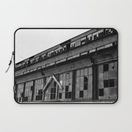 Bethlehem Steel plant windows in black and white Laptop Sleeve