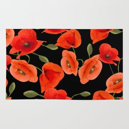 Poppies on black background Rug
