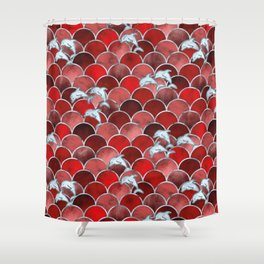 Wave Jumpers (Red) Shower Curtain