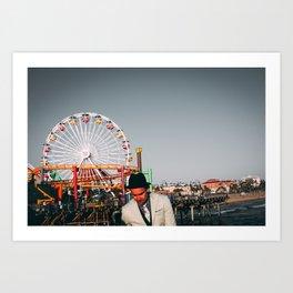 Santa Monica Pier wheel Art Print
