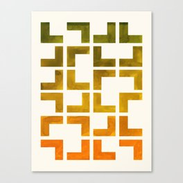 Geometric Pattern L Shaped Watercolor Painting Olive Green Yellow Ochre Colorful Pattern Art Canvas Print