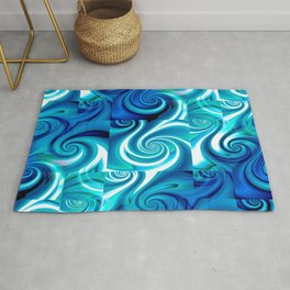 Awesome Lushness Pattern (blue and white) Rug