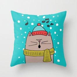 Singing cat 2 Throw Pillow