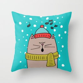 Singing cat 2 Throw Pillow