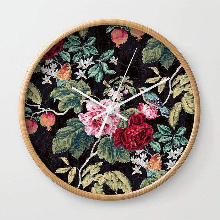 Noir Flower Pattern Wall Clock