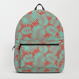 Palm Leaves Delight | aqua & coral | Backpack
