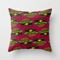 hamburger Throw Pillows featuring Hamburger by nsvtwork