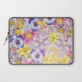 Painterly Vintage Spring Flowers Pattern - Springflower floral Laptop Sleeve