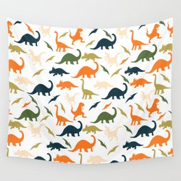 Dinos in Pastel Green and Orange Wall Tapestry