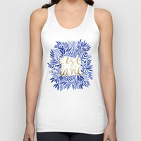 waldo Tank Tops featuring That's Life – Gold & Blue by Cat Coquillette