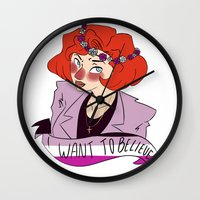 dana scully Wall Clocks featuring Believer Scully by ddyn
