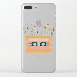 Nectarine Botanical Cassette Tape Clear iPhone Case