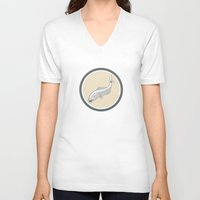 trout V-neck T-shirts featuring Trout Swimming Cartoon Circle by patrimonio