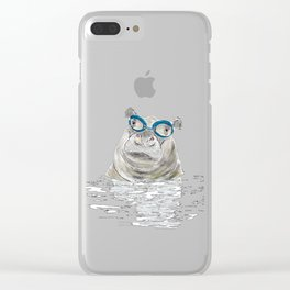 Hippo with swimming goggles Clear iPhone Case