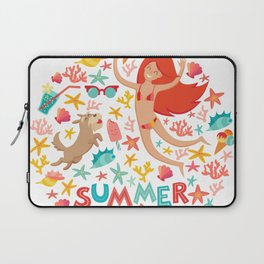 Summertime card. Circle cartoon design  with summer icons, girl with a dog and text. Isolated vector Laptop Sleeve