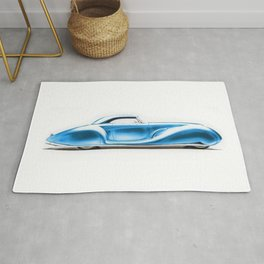 Vintage 1934 blue Packard Eight 2/4-Passenger Coupe Rug
