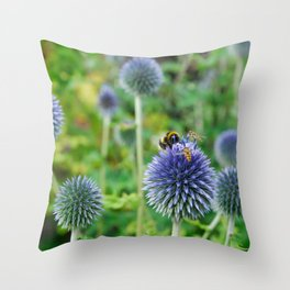 The Buzz in the Garden Blue Globe Flowers Throw Pillow