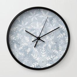 Snowflake pattern gray Wall Clock