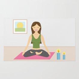 Yoga Girl In Lotus Pose Cartoon Illustration Rug