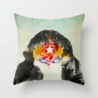 muscle Throw Pillows featuring Muscle Girl by Arian Noveir
