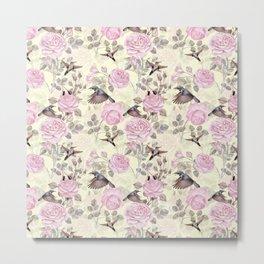 Vintage & Shabby Chic - Lush pastel roses and hummingbird pattern Metal Print