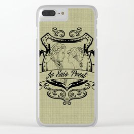 Outlander Je Suis Prest linen Clear iPhone Case