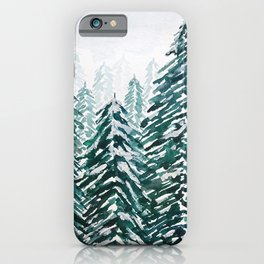 snowy pine forest in green iPhone Case