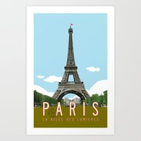 travel poster Art Prints featuring Paris 2 Travel Poster by Michael Jon Watt