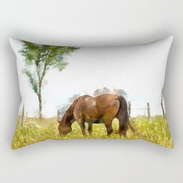 Horse Grazing in the Field.  Watercolor Painting Style. Rectangular Pillow