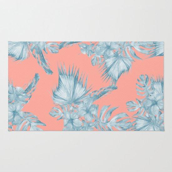 Dreaming Of Hawaii Pale Teal Blue On Coral Pink Rug By