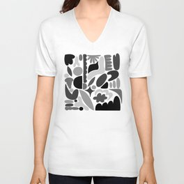 Modern Organic Abstract / Black and Grays on a White Background Unisex V-Neck