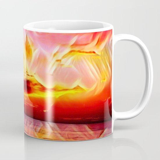 Sky on Fire (Sunset over Great Lake Michigan Beach) Coffee Mug