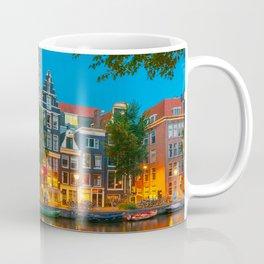Amsterdam Canal With Dutch Houses at Night Coffee Mug