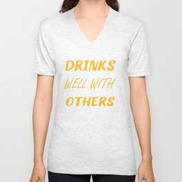 Drinks Well With Others...WINE Funny Muscle Tee, Workout Top, Muscle Tank, New Years Eve Unisex V-Neck