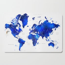 """Navy blue and cobalt blue watercolor world map with cities labelled, """"Carlynn"""" Cutting Board"""