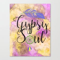 Gypsy Soul - Boho Dreamcatcher Watercolor Hippy Art Canvas Print