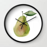 pear Wall Clocks featuring pear by Jill Byers
