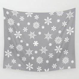 Snow Flurries-Light Gray Wall Tapestry