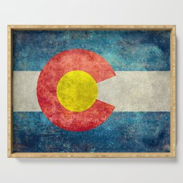 Colorado State Flag in Vintage Grunge Serving Tray