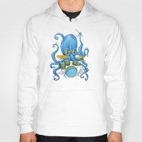 drums Hoodies featuring Octopus on Drums by Bili Kribbs