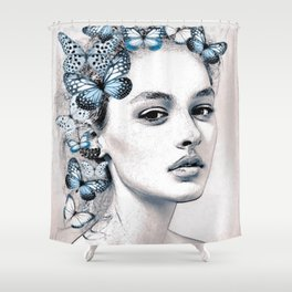 Woman with butterflies 2 Shower Curtain
