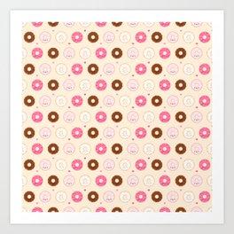 Cute Little Donuts on Cream Art Print